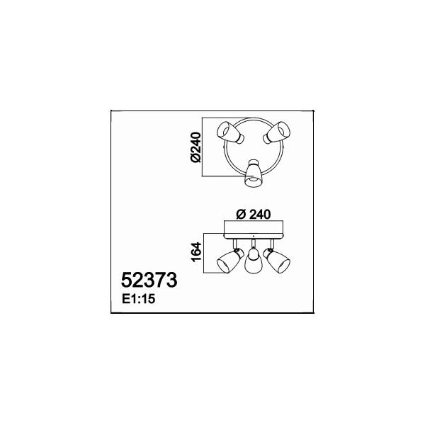 Plafon baño ip 44 3 x G9 cromo