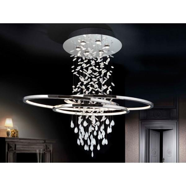 Lámpara led 82 W cromo almendros cristal