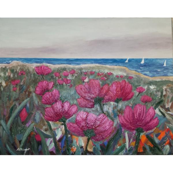 Cuadro paisaje flores