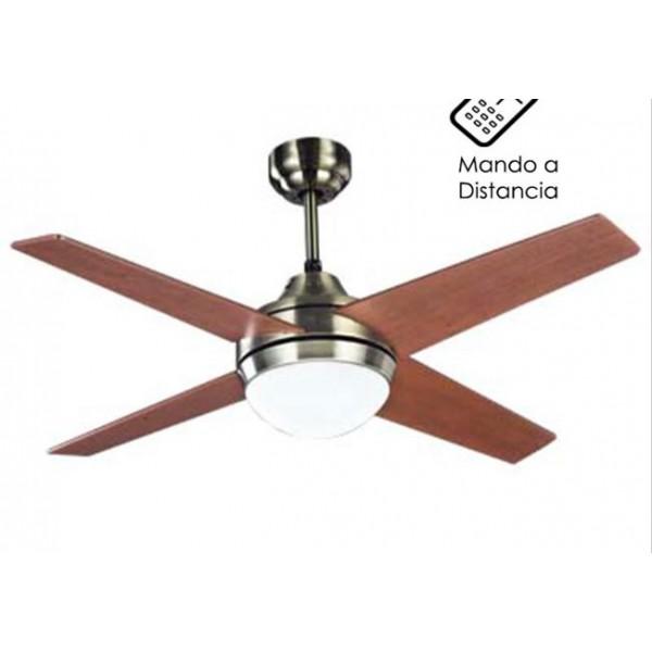 Ventilador techo cuero con luz y mando temporizador