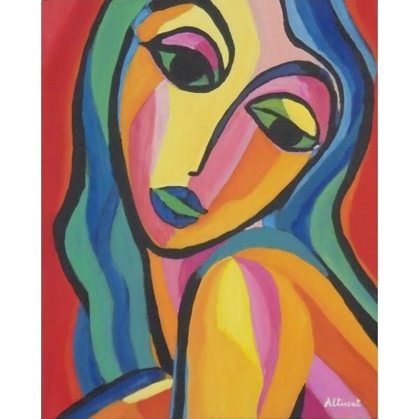 Cuadro mujer multicolor 40x50