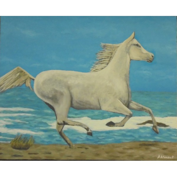 Cuadro caballo en la playa
