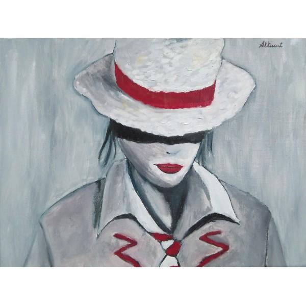 Cuadro 30x40 mujer sombrero