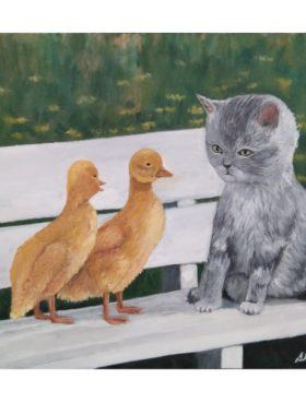 Cuadro gatito con pollitos 50x60