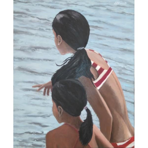 Cuadro niñas en la playa 75x60