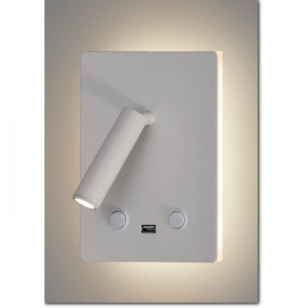 Aplique led luz indirecta 12W, lector 3W
