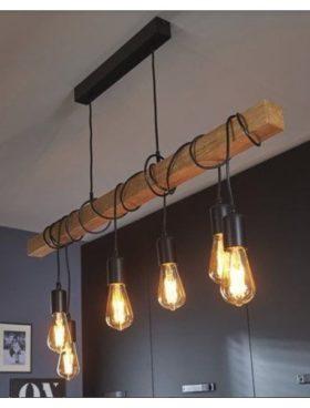 Lampara techo 6 luces viga madera