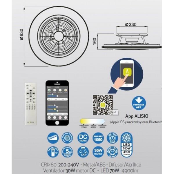 Ventilador Plafón led integrado